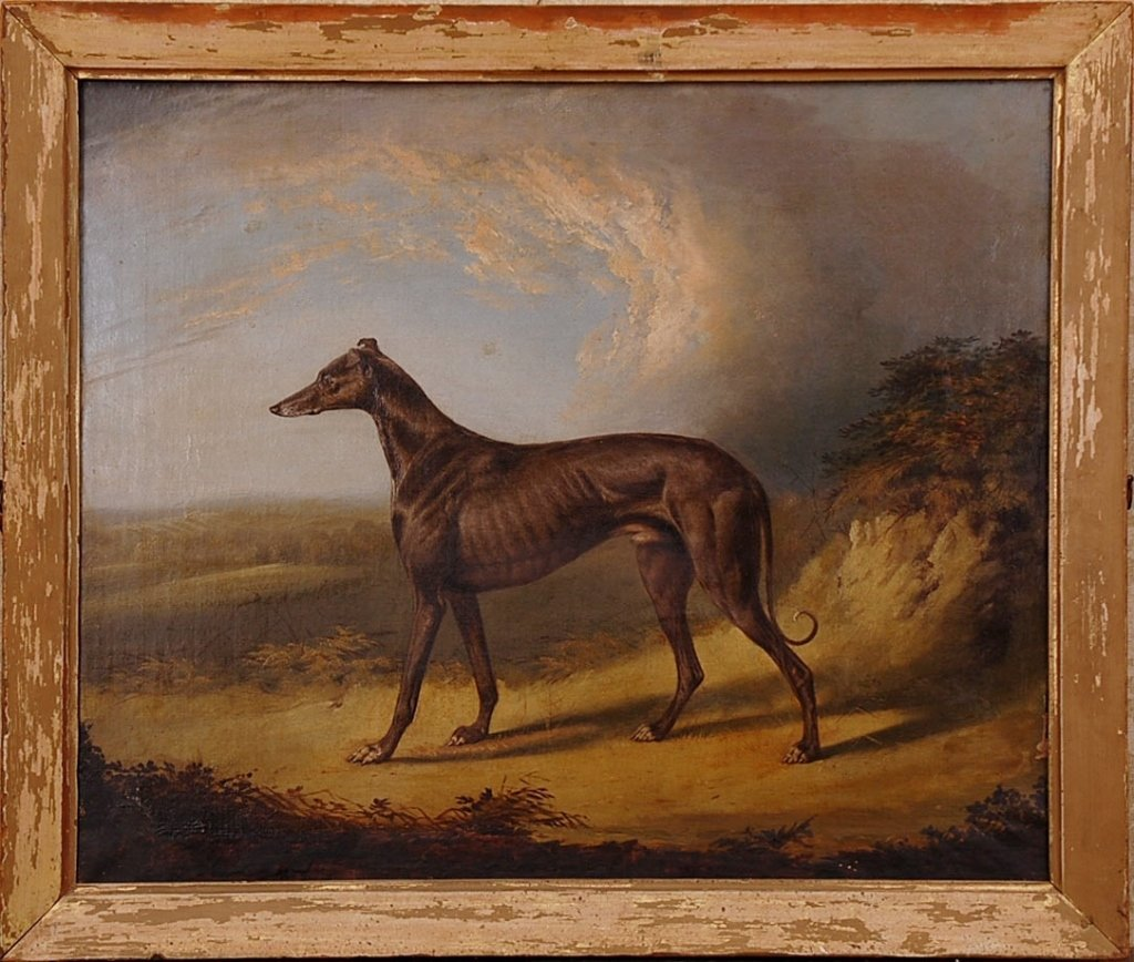 19TH C. ENGLISH SCHOOL OIL ON CANVAS OF A WHIPPET DOG