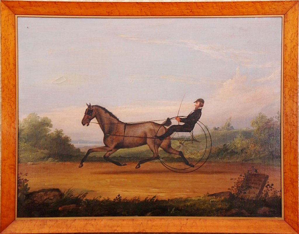 19TH C. AMERICAN OIL ON CANVAS OF PACER RACE HORSE