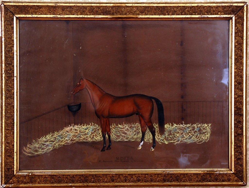 D. W. SMITH C. 1900 PASTEL ON PAPER RACE HORSE PORTRAIT