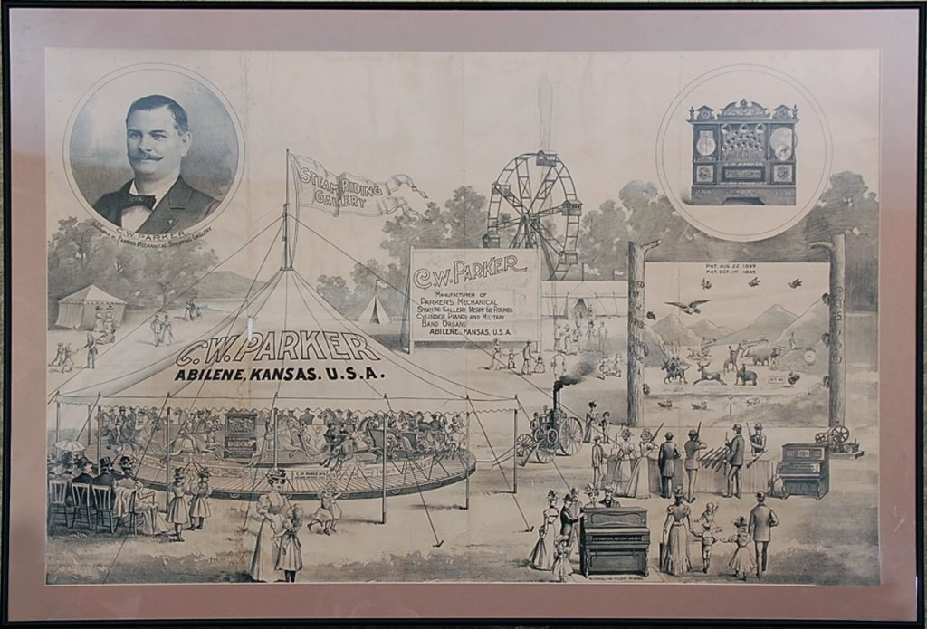 RARE C.W. PARKER SHOOTING GALLERY CAROUSEL POSTER