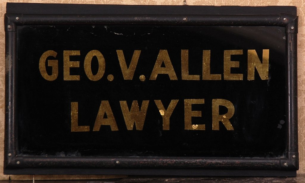 REVERSE PAINTED SIGN WITH GOLD LEAF: GEO V. ALLEN