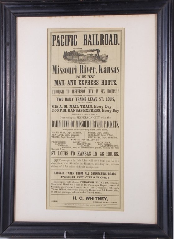 CIRCA 1860S PACIFIC RAILROAD DOUBLE SIDED BROADSIDE