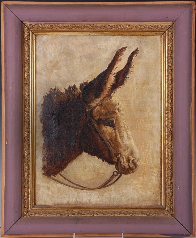 LATE 19TH CENTURY OIL ON CANVAS PORTRAIT OF A BURRO
