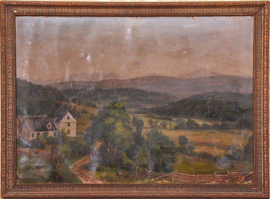 MID 19TH C. FOLK ART PAINTING PENNSYLVANIA FARM SCENE
