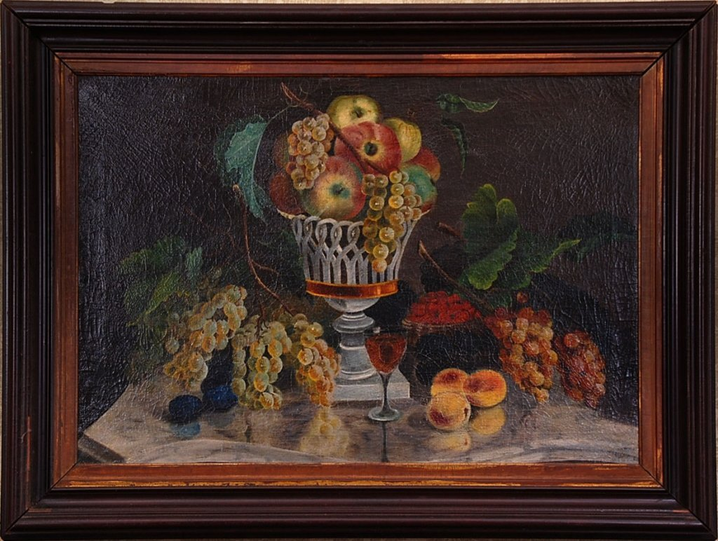 1830s AMERICAN STILL LIFE OF FRUIT OIL ON CANVAS