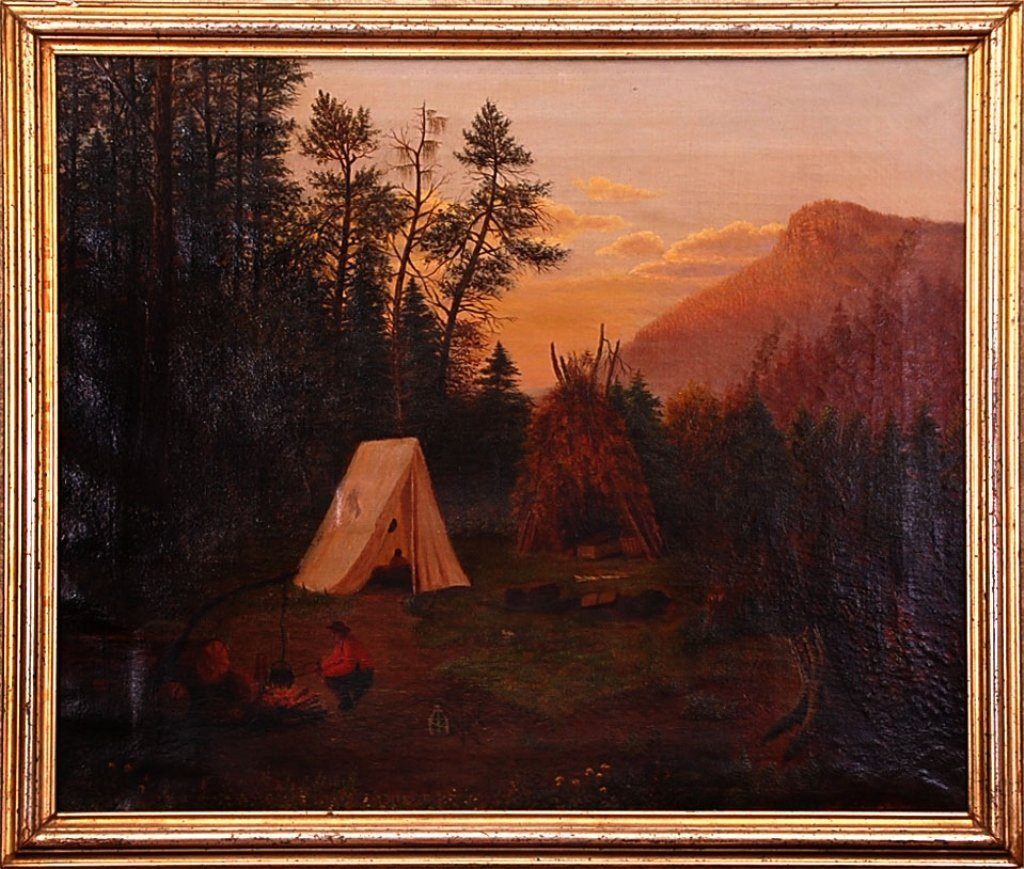HUDSON VALLEY SCHOOL OIL OF CAMP IN THE MOUNTAINS