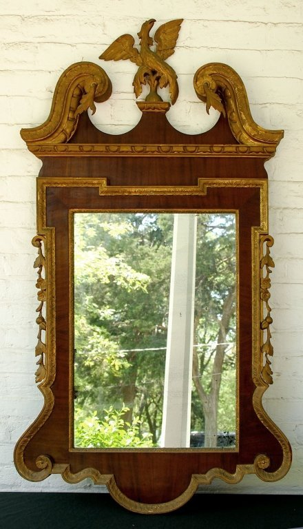 18TH C. CHIPPENDALE PARTIALLY GILDED MAHOGANY MIRROR