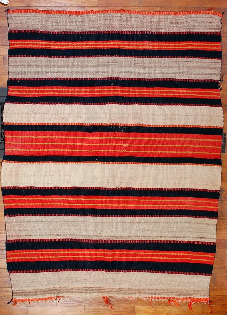 LATE CLASSIC PERIOD NATIVE AMERICAN BANDED BLANKET