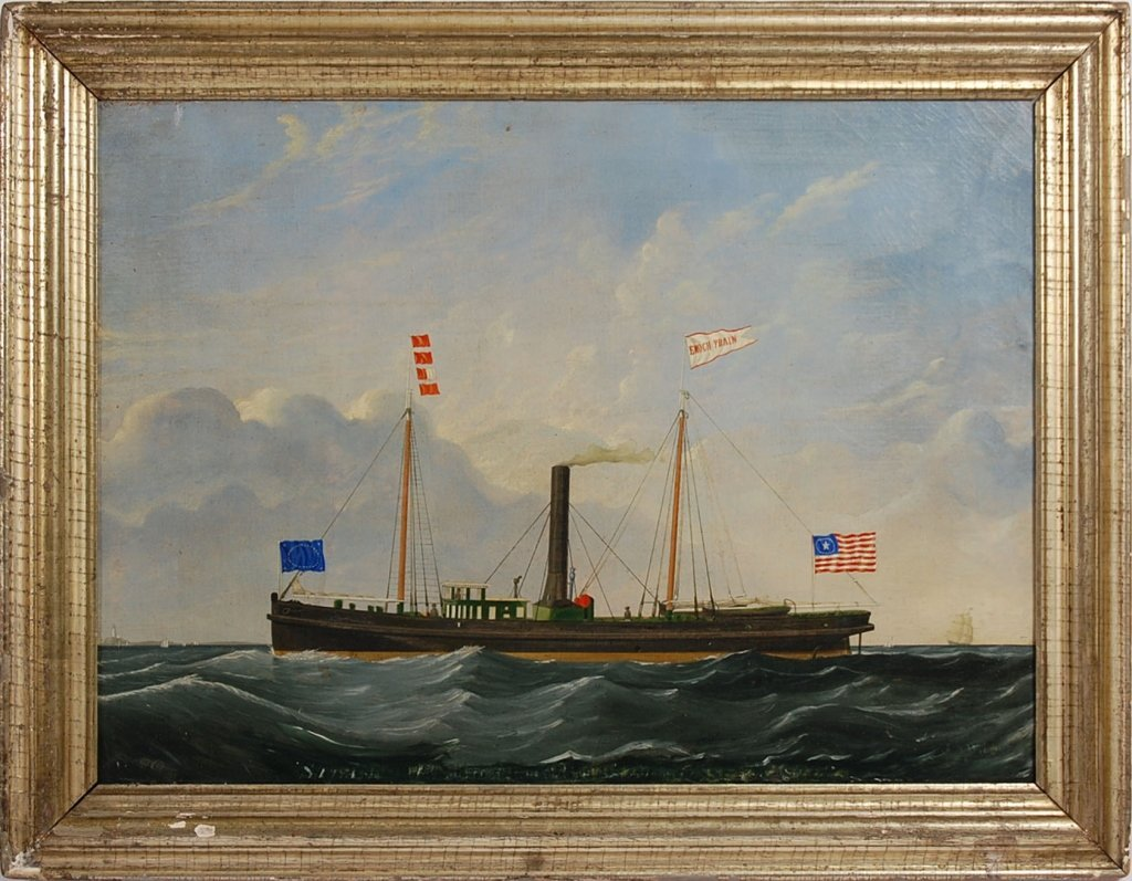 19TH C. AMERICAN MARITIME PAINTING OF THE ENOCH TRAIN