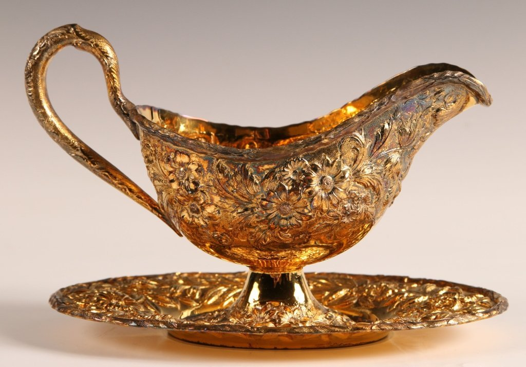 S. KIRK AND SON GILDED REPOUSSE SAUCE BOAT