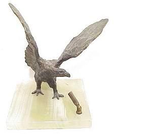 Spelter Eagle on Onyx Pen Holder 7 inch s