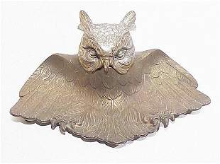 Owl Cast Iron Ink Well 9.5 inches wide, n
