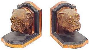 Bulldog Spelter Bookends 4 inches high