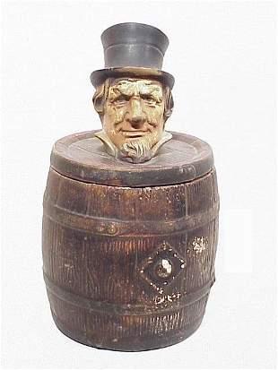 Uncle Sam on Barrel Terra-Cotta Cigar Ja