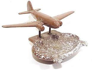 Cast Iron Enameled Ash Tray with Airplane