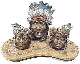 Spelter Smokers Set in American Indian Mo