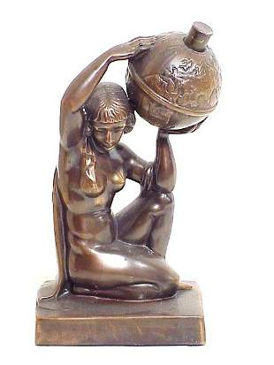 Bronze Finish Nude and World Globe Lighte