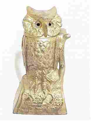 Owl Cast Iron Mechanical Bank 8 inches h