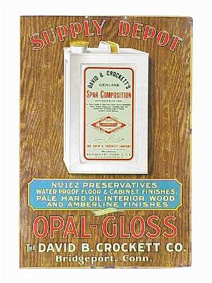 Crockett's Opal-Gloss Tin Sign in excell