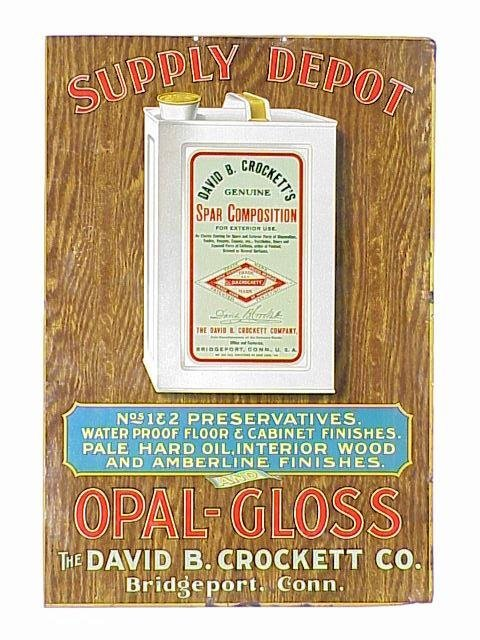 476: Crockett's Opal-Gloss Tin Sign in excell