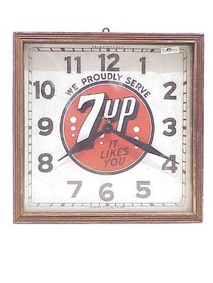7-Up Advertising Clock 15 inches square
