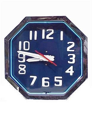 Large Art Deco Neon Clock 25 inches octa