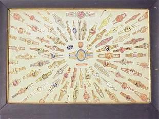 Framed Old Collection Of 80 Cigar Labels