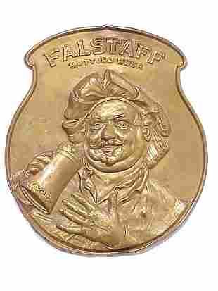 Embossed Brass Falstaff Beer Advertising
