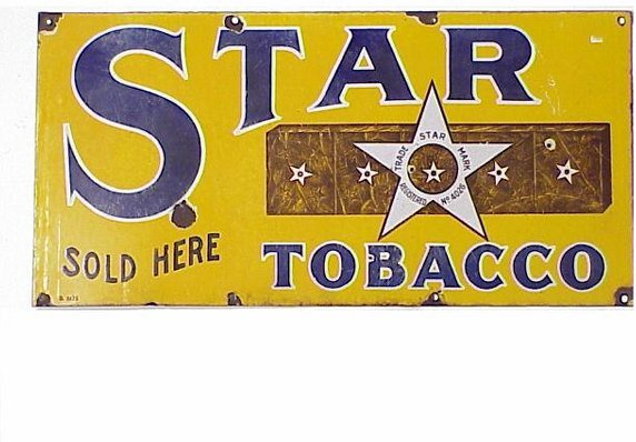 488: Star Tobacco Porcelain Advertising Sign