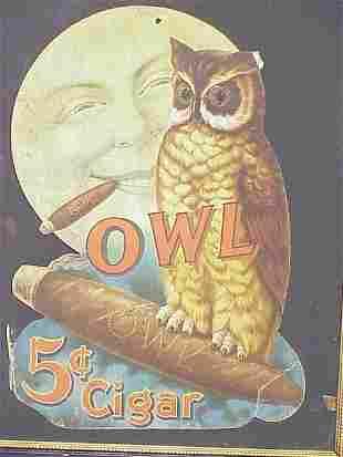 Owl 5 Cent Cigar Die Cut Advertising 15