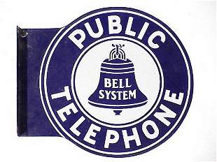 Bell System Telephone Sign double sided
