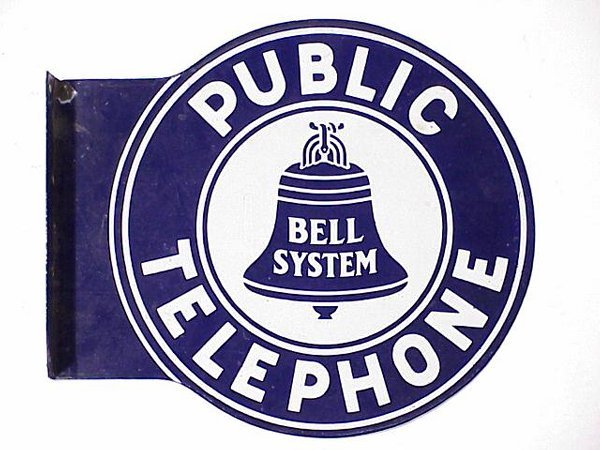 491: Bell System Telephone Sign double sided