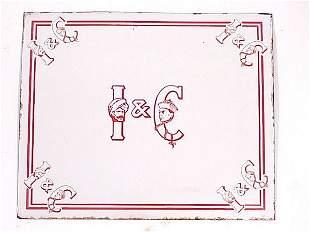 I & C Porcelain Advertising Sign 20 X 24