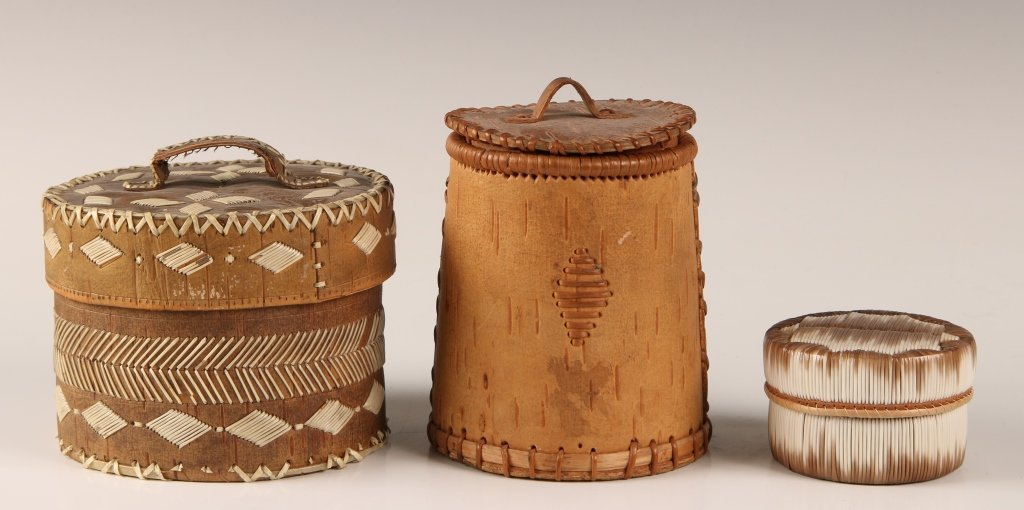 NATIVE AMERICAN BIRCH BARK WITH QUILL DECORATION