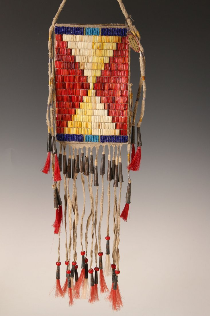 QUILL DECORATED ARAPAHO BAG WITH TIN CONE TINKLERS