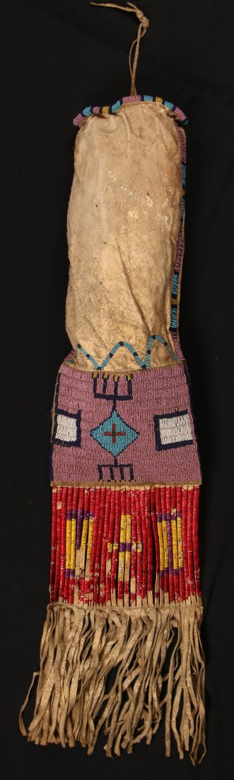 C. 1890s PLAINS BEADED PIPE BAG WITH QUILL DECORATION