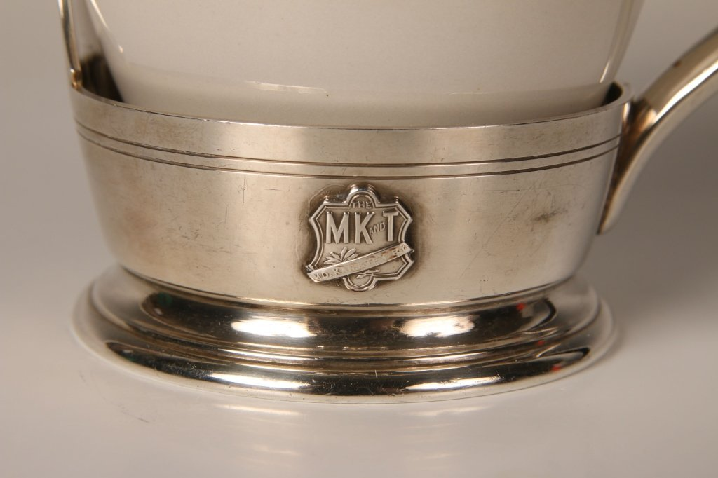 MISSOURI KANSAS TEXAS MK&T RR SILVER CUP HOLDER AND CUP