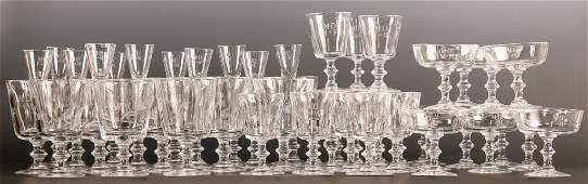 53 PIECES STEUBEN CRYSTAL STEMWARE WITH ENGRAVED