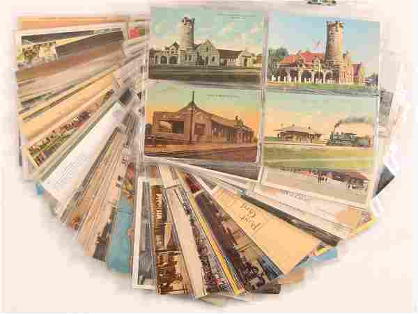 211 VINTAGE RAILROAD POST CARDS