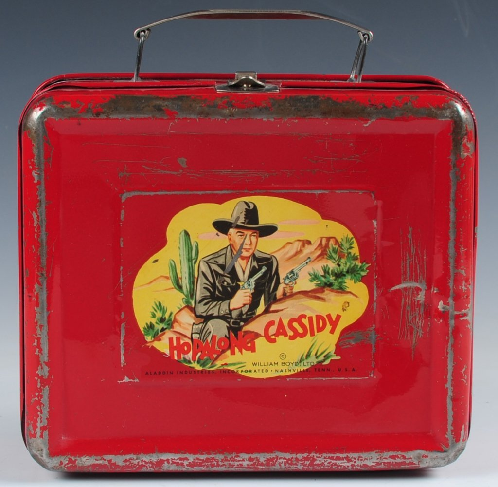 1950 HOPALONG CASSIDY RED LUNCH BOX