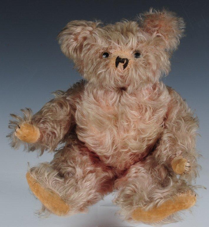 RARE CIRCA 1920s PINK HELVETIC MUSICAL TEDDY BEAR