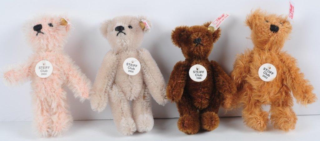 FOUR MINIATURE STEIFF CLUB TEDDY BEARS
