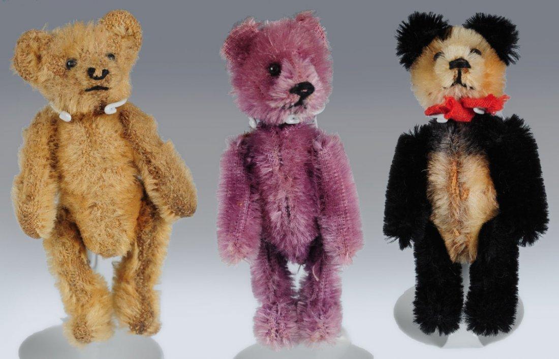 THREE MINIATURE JOINTED TEDDY BEARS
