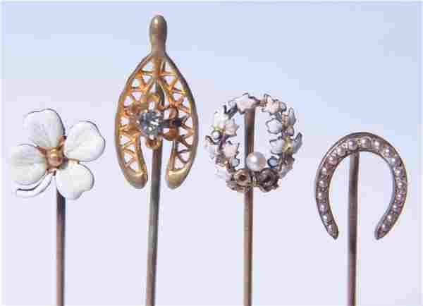 FOUR ANTIQUE GOLD STICK PINS