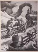 THOMAS HART BENTON 1889  1975 PENCIL SIGNED LITHO