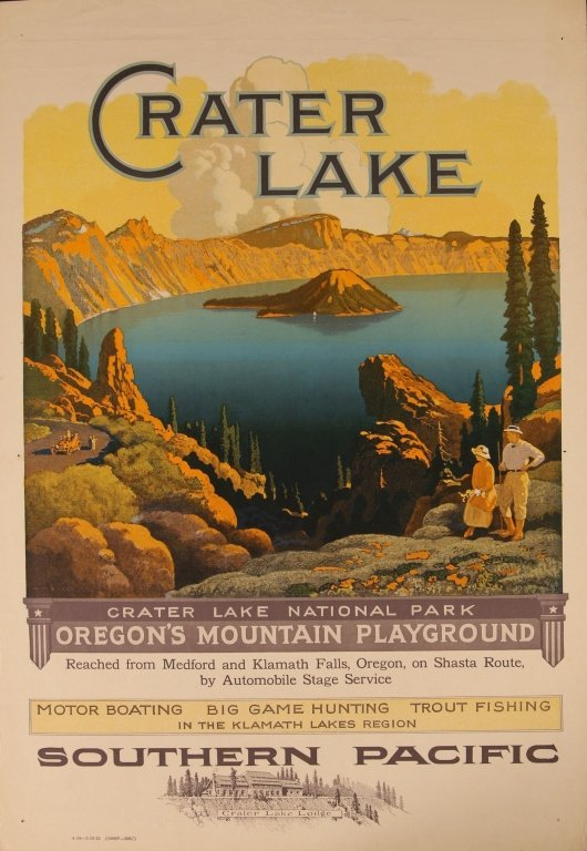 EARLY 1920s SOUTHERN PACIFIC RR POSTER FOR CRATER LAKE