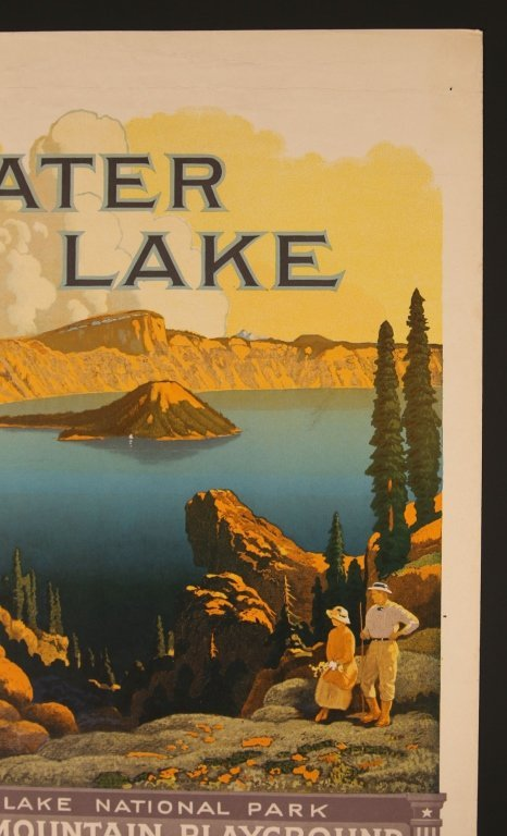 EARLY 1920s SOUTHERN PACIFIC RR POSTER FOR CRATER LAKE - 3