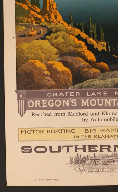 EARLY 1920s SOUTHERN PACIFIC RR POSTER FOR CRATER LAKE - 5