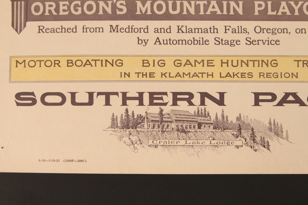 EARLY 1920s SOUTHERN PACIFIC RR POSTER FOR CRATER LAKE - 6