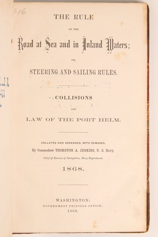 JENKINS, THORNTON A., THE RULE OF THE ROAD AT SEA - 2